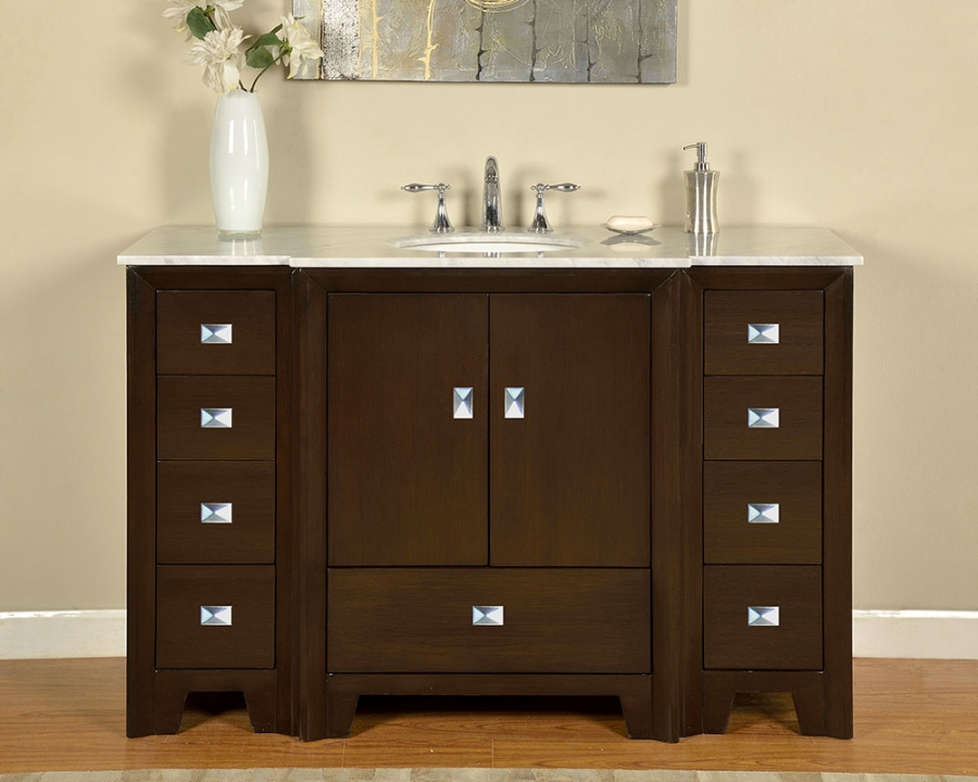 55 Inch Single Sink Bathroom Vanity In Dark Walnut