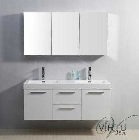 54 Inch Double Sink Bathroom Vanity In Gloss White UVVU50154GW54