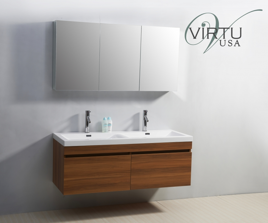 55 Inch Double Sink Bathroom Vanity With Soft Closing