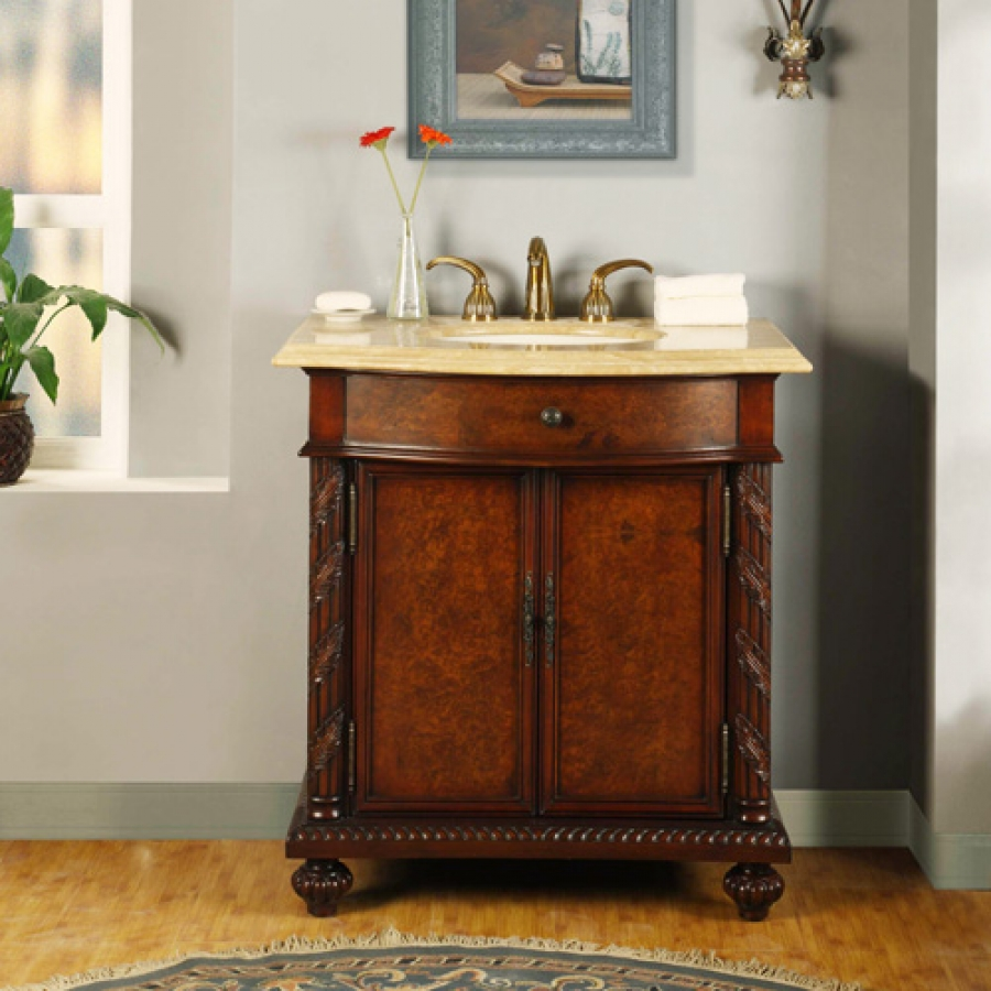 34 Inch Furniture Style Single Sink Vanity With LED Lighting