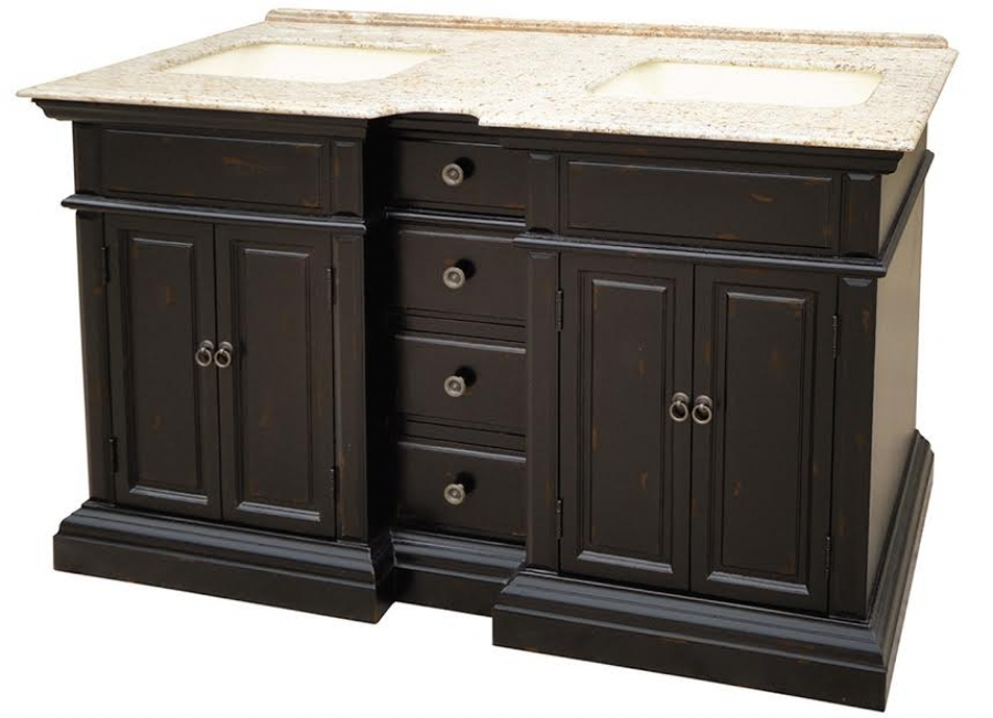 58 Inch Double Sink Bathroom Vanity With A Distressed