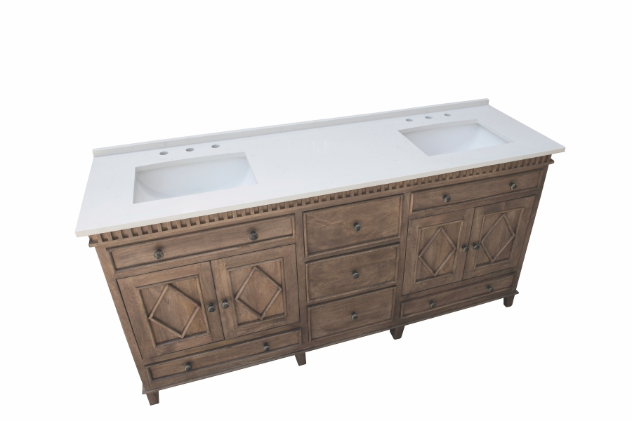 72 inch double sink bathroom vanity with choice of no top