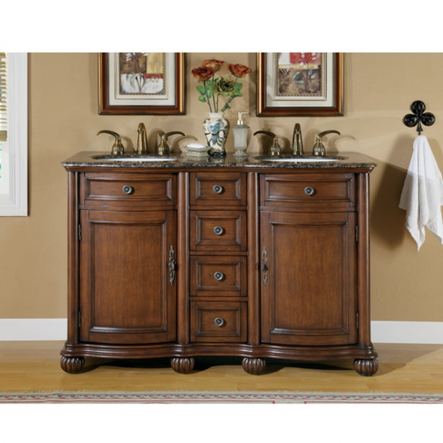 52 inch small double sink bathroom vanity with granite