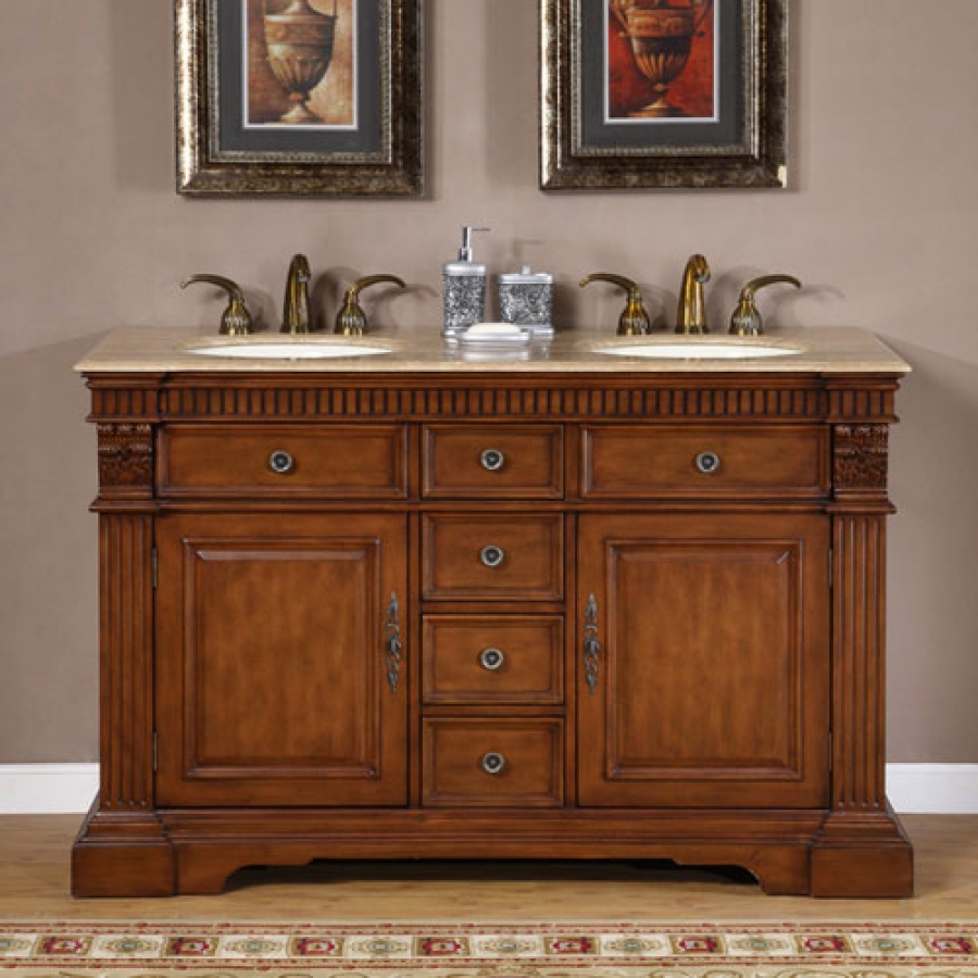 55 inch furniture style double sink bathroom vanity
