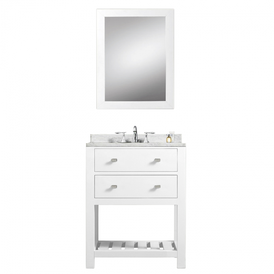 24 Inch Single Sink Bathroom Vanity With Carerra White Marble UVWCMADALYN24W