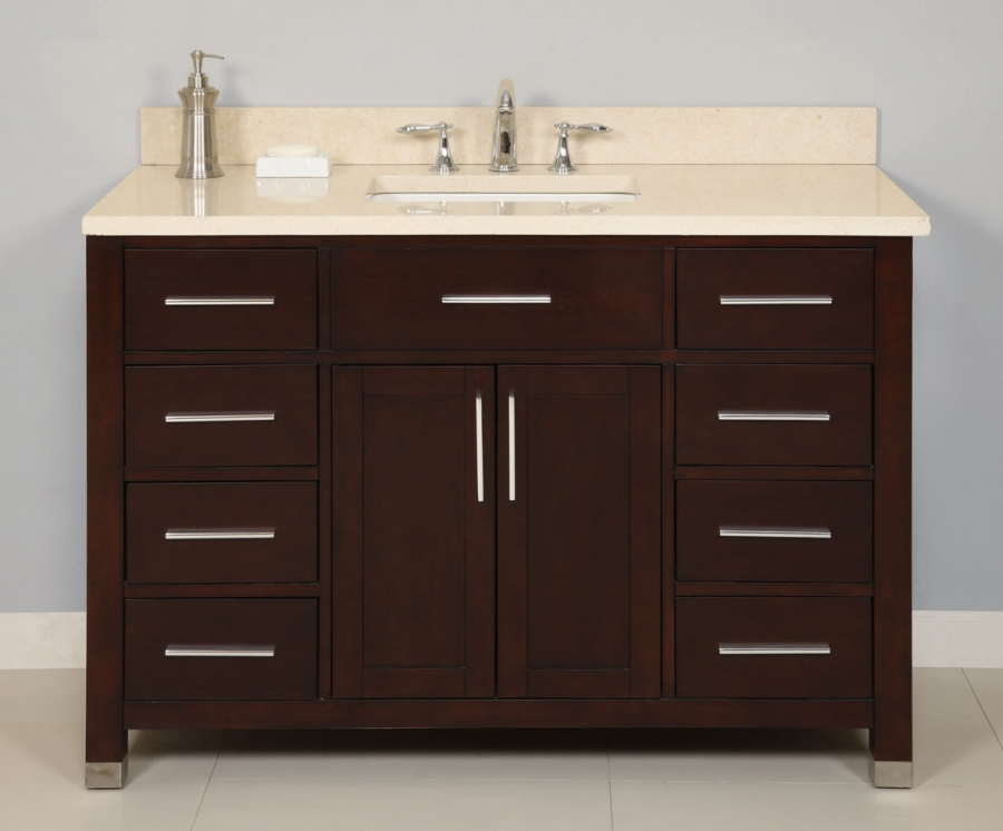 48 Inch Single Sink Modern Dark Cherry Bathroom Vanity