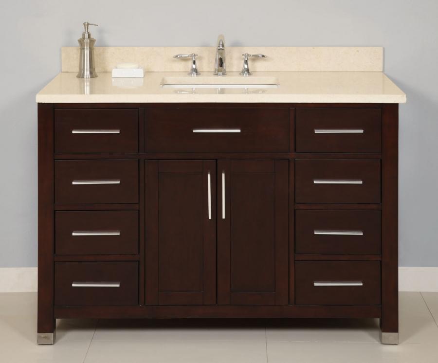 48 Inch Single Sink Modern Dark Cherry Bathroom Vanity