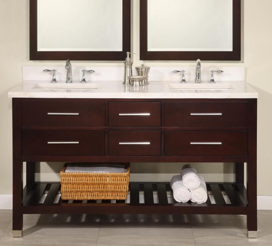 60 inch modern cherry double sink bathroom vanity open shelf