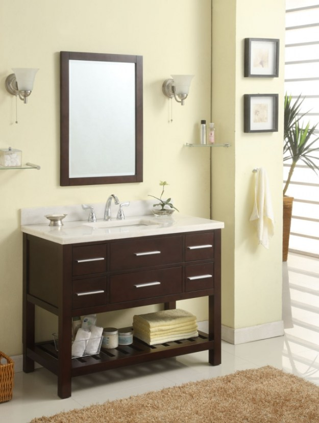 42 inch single sink modern cherry bathroom vanity with open shelf