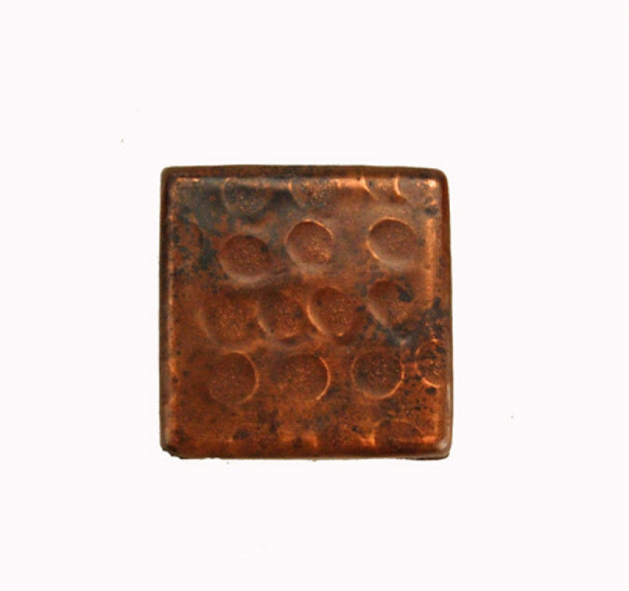 2 Inch Square Hammered Copper Tile UVPCPT2DBH