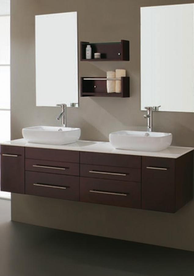 59 Inch Modern Double Sink Bathroom Vanity with Vessel ...