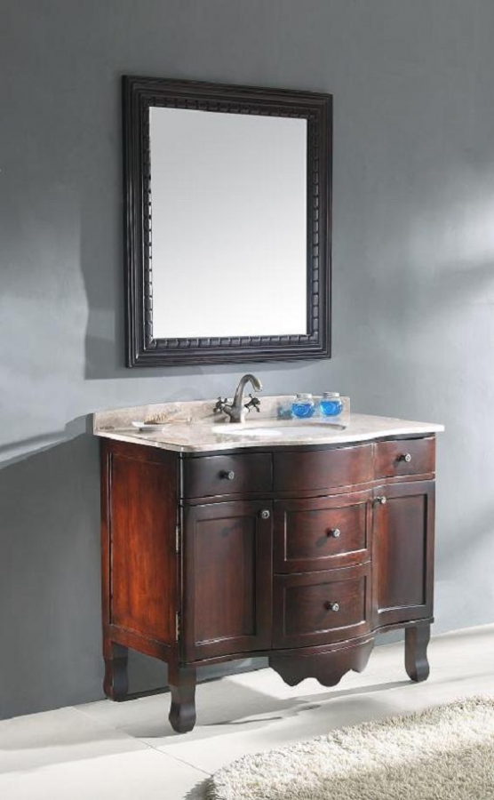 38 Inch Traditional Single Bathroom Vanity With Cherry Brown Finish UVLF304538