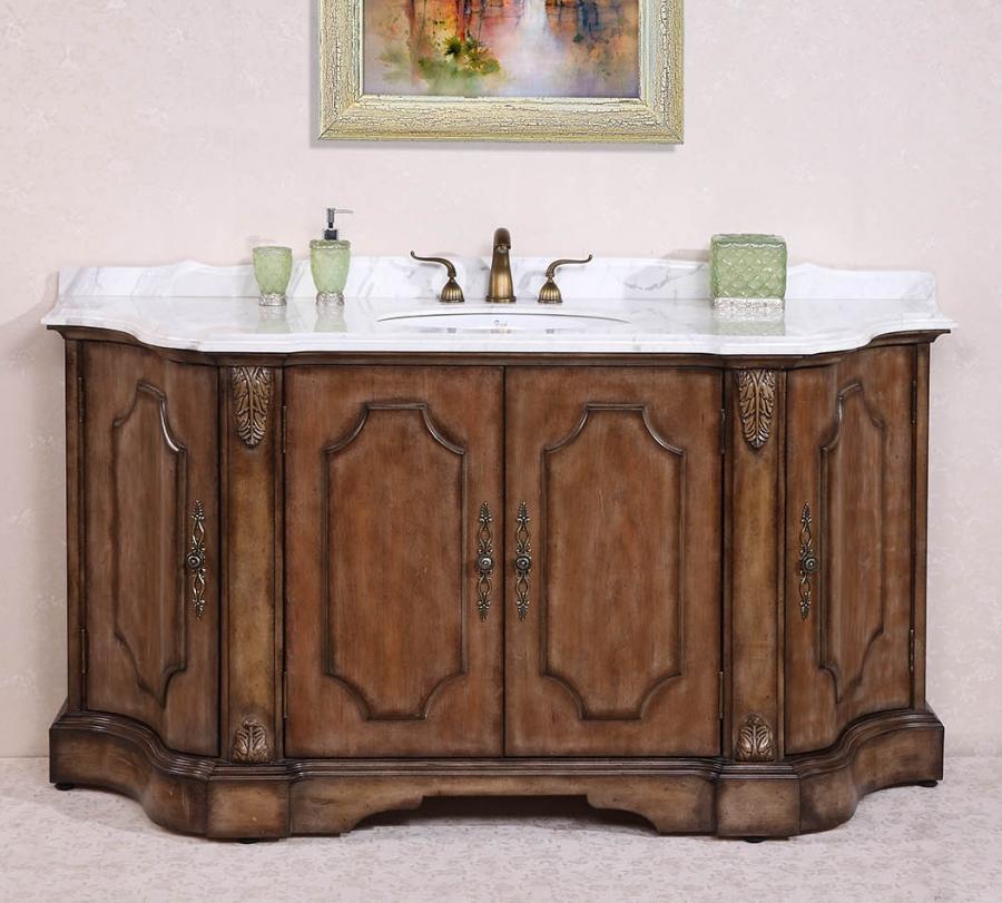 68 Inch Large Distressed Single Sink Bathroom Vanity