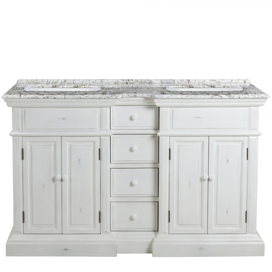 58 inch double sink bathroom vanity with choice of no top
