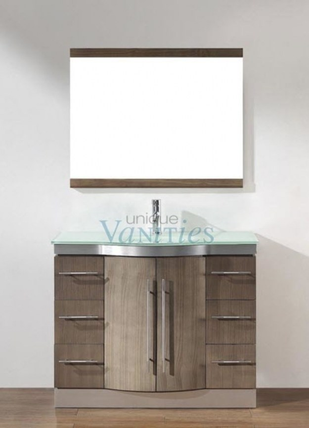 42 inch single sink bathroom vanity with choice of top in smoked ash