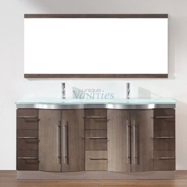 72 inch double sink bathroom vanity with choice of top in smoked ash