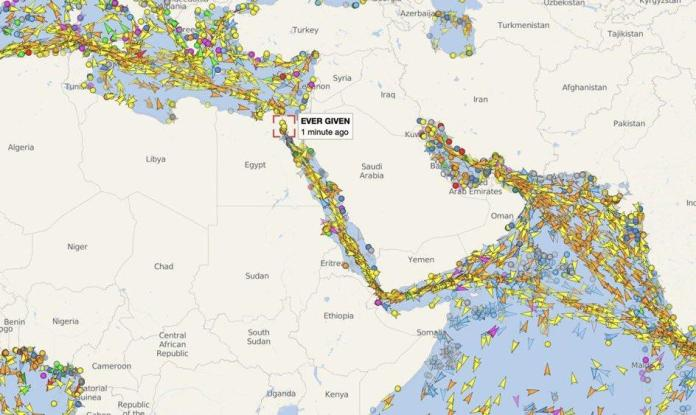 Monster traffic jam after blockade.  Hundreds of ships are waiting to pass through the Mediterranean and Red Seas.