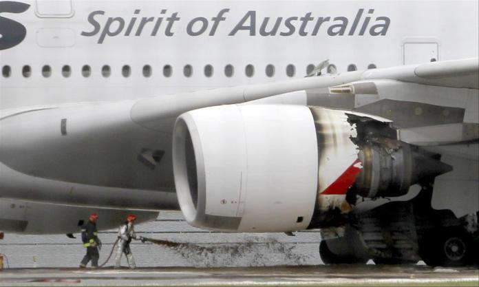 The Qantas aircraft after the emergency landing in Singapore in November 2010.