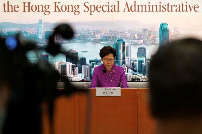 Hong Kong general manager Carrie Lam attends a press conference at the government building in Hong Kong on July 1, 2020, on the 23rd anniversary of the city's transfer from Britain to China. (July 1, 2020)