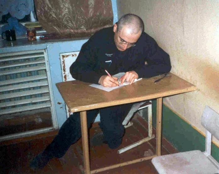 Former oil magnate Mikhail Khodorkovsky in a cell in a prison camp in Siberia in 2005.  He sat for alleged fraud and tax evasion.