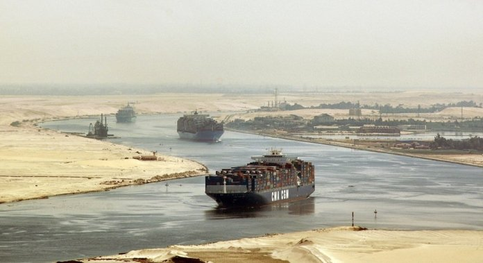 The Suez Canal between the Egyptian ports of Port Said and Suez connects the Mediterranean with the Red Sea.  It saves a sea route of up to 9800 kilometers around Africa.