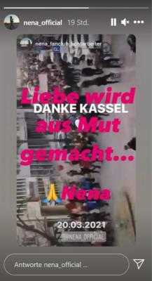 """Thank you Kassel"" - a fan forwarded his screenshot from Nena's post."