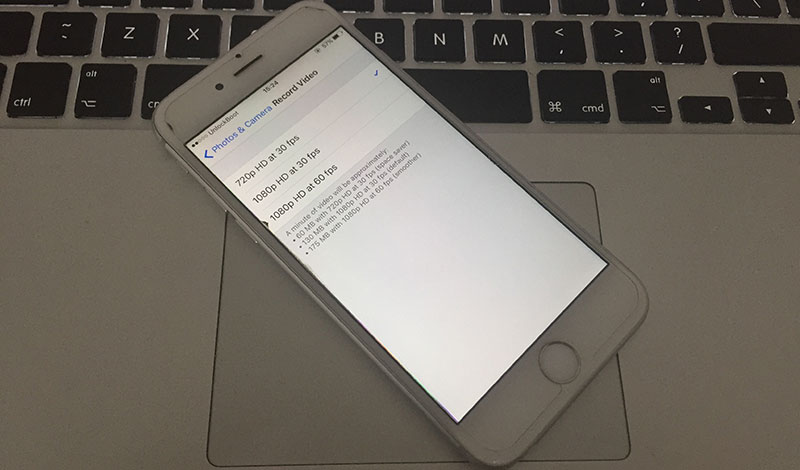 change camera resolution on iphone