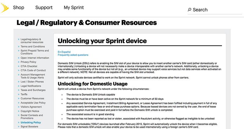 unlock sprint iphone 8