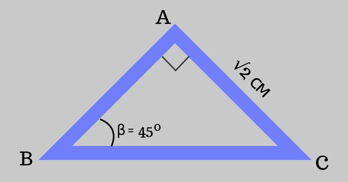 ABC үшбұрышы, 𝐴𝐶 = √2 және ∠β = 45º, ∠𝐴 Direct