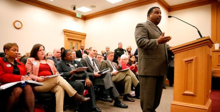 Vanderbilt Police Chief August Washington makes a statement before the Tennessee House education subcommittee on March 12. (John Russell/Vanderbilt)