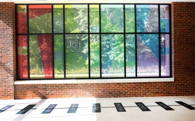 In the new worship space, tall colorful glass windows face southward offering views of the stained glass of Benton Chapel. (Anne Rayner/Vanderbilt)