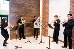 The Blair School of Music provided a brass quintet for the ribbon cutting Aug. 23. (Susan Urmy/Vanderbilt)