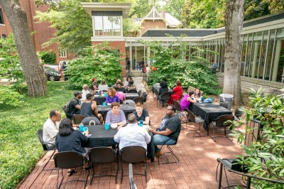 Staff and faculty enjoy fellowship and food during the Juneteenth Cookout at the Black Cultural Center. (John Russell/Vanderbilt University)
