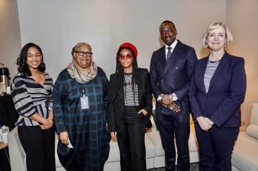 (L to r) Black Student Association President Mika Williams, Divinity School Dean Emilie M. Townes, Janelle Monáe, Yusef Salaam and Interim Chancellor and Provost Susan R. Wente. (John Russell/Vanderbilt)