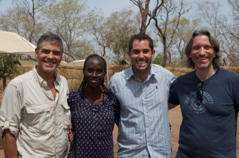 Left to right: George Clooney, Jazira Awad Boyette, Ryan Boyette and John Prendergast of the Enough Project