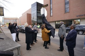Unveiling the Perry Wallace Way sign on Saturday, February 22. (John Russell/Vanderbilt)