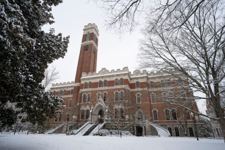 Kirkland Hall surrounded by snow.