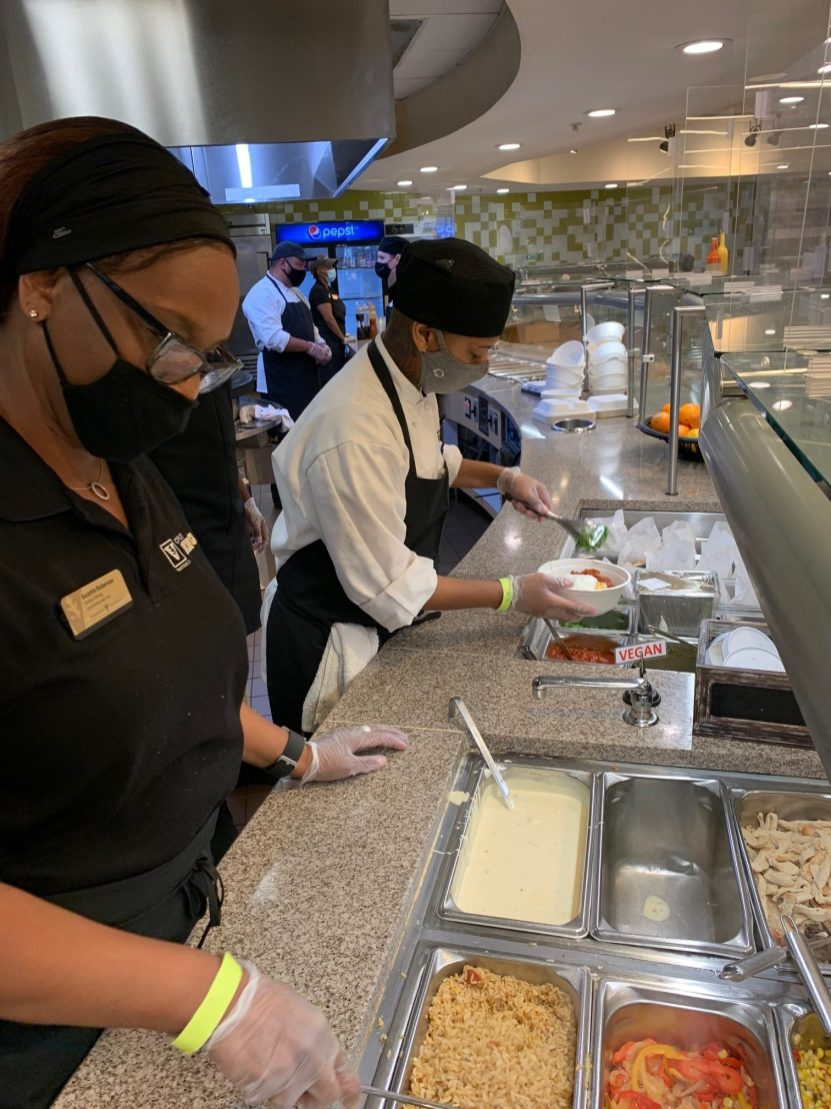 Campus Dining staff prepares meals for students during the snow storms.