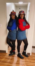 """The sisters don """"Sister Sister"""" costumes for Halloween."""