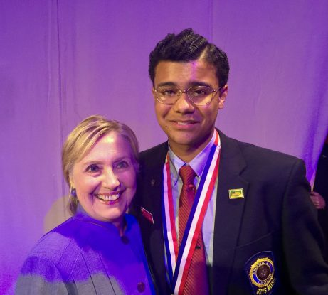 Crocker (left) with then-Sec. of State Hillary Clinton at the American Legion National Convention in 2016 in Cincinnati, Ohio. Crocker was a featured speaker at the convention the day before and was invited to join Clinton on stage for her speech.