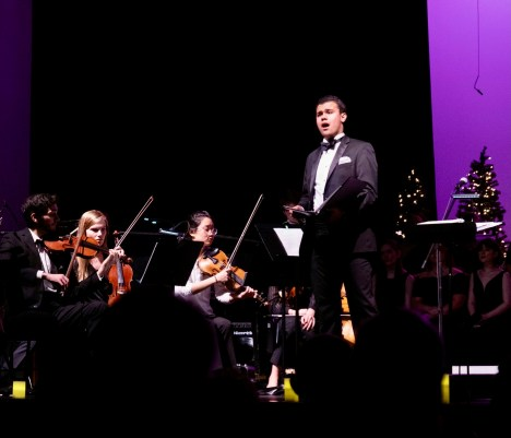 Crocker singing solo with the Willow Oak Chorale and Orchestra in Springfield, Tennessee. He grew up in this art school and, in 2020, became the conductor of the chorale and orchestra after two years as its assistant conductor.