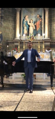 Crocker performing at a church in Acqui Terme, Italy. Crocker participated in the Interharmony International Music Festival, studying with Blair Professor Amy Jarman.