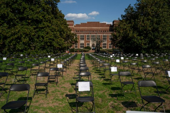The Empty Chair COVID-19 memorial was set up on Library Lawn April 6 and 7.