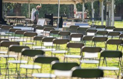 Each chair in the Empty Chair COVID-19 memorial on Library Lawn represented 10,000 deaths due to the pandemic.