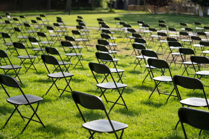 The Empty Chair COVID-19 memorial on Library Lawn was organized by the Office of the University Chaplain and Religious Life.