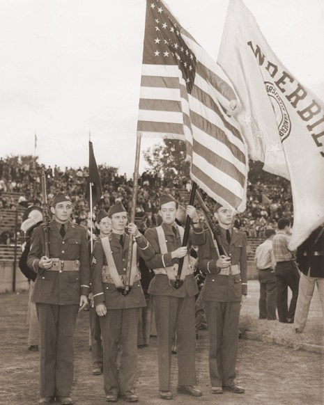 photo of ROTC color guard during 1930s football game