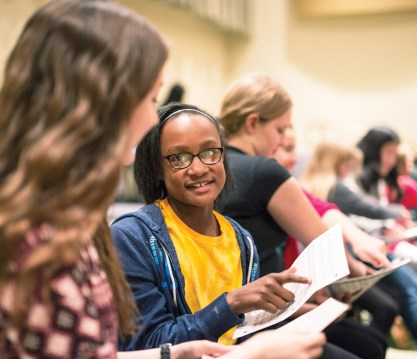 Abbey volunteers Monday evenings with a precollege middle school girls' choir at Blair called the Blair Choristers. Students enrolled in Blair's MA5 program work with every grade level before they student-teach.