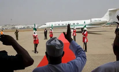 Just in: Buhari returns from South Africa