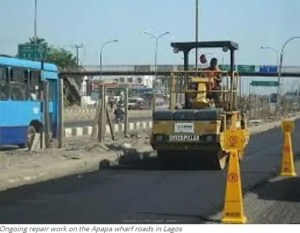 Ongoing repair work on the Apapa wharf roads in Lagos