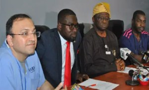 •From left: Team leader, Voom FoundationUSA, Dr. Reza Khodaverdian; Senior Special Assistant to the Governor of Lagos State on Health, Dr. Sola Pitan; Chief Medical Director, LASUTH, Prof. David Adewale Oke andHead ofCardiothoracic Division, LASUTH, Dr. Bode Falase, during a press conference on Free Cardiac Surgical Mission between LASUTH and Voom Foundation held in LASUTH, Lagos, last Friday.